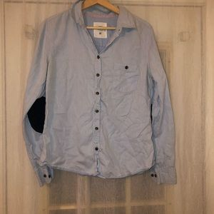 Light blue button down with elbow pads